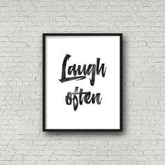Laugh Often Poster Watercolor Motivational от PrintsDigital