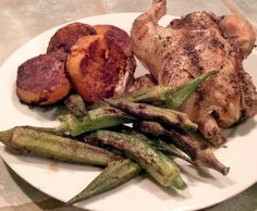 Roasted Cornish Game Hen, Sweet Potato Medallions and GrilledOkra