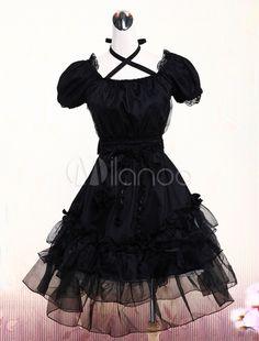 Schwarzes Lolita Kleid mit kurzen Ärmeln und viereckigem Ausschnitt - Milanoo.com