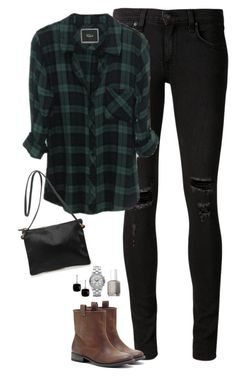 """""""Plaid, ripped jeans & slip on boots"""" by steffiestaffie ❤ liked on Polyvore featuring rag & bone/JEAN, Sole Society, Clare V., Essie, Marc by Marc Jacobs and Argento Vivo"""