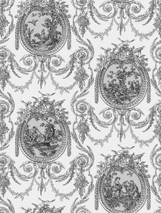 Cameo Toile (SK175124) - Shand Kydd Wallpapers - A pretty white and metallic silver traditional toile design depicted within delicate frames. Please request a sample for true colour match. This is a pre pasted product.
