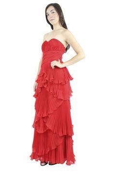 Dalia Macphee Vestido rojo strapless plisado, Dalia