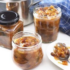 Chutneys originate in India and are a great way of preserving gluts of fruit and vegetables. They taste great served with cheese, cold meats and spicy dishes. You can make chutney with … Plum Chutney, Spicy Dishes, Home Canning, Russian Recipes, Cook At Home, Summer Recipes, Good Food, Spices, Appetizers
