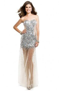 Strapless Sparkly Sequined Illusion Tulle Evening Dress 2015 [Flirt P5845] -
