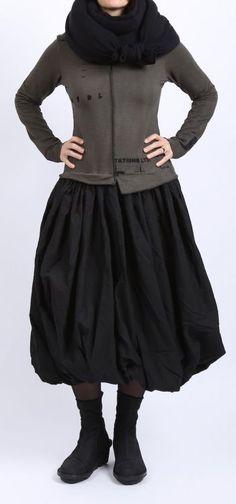 rundholz black label - Kleid mit Ballonrock und Print beluga - Winter 2016