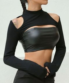 Sexy Women Shoulder Cut Out T Shirts Long Sleeve Outwear Navel Bare Cropped Tops Best Picture For Crop Top wedding dress For Your Taste You are looking for something, and it is going to tell you exact Crop Top Outfits, Sexy Outfits, Cool Outfits, Fashion Outfits, Fashionable Outfits, Dressy Outfits, Fashion Clothes, Mode Swag, Black Crop Tops