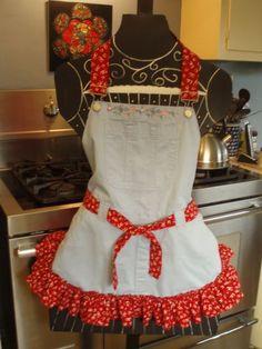 repurposed overalls into apron