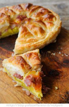 Pie pastry salty cheese potatoes and sausages - Torta sfogliata salata ai formaggi patate e salumi vickyart arte in cucina
