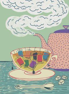 Abans de dormir cal beure... una bona infusió de lectura.(il·lustració de Gizem Vural) ~ ~ You need to drink before bed ... a great infusion of reading. (illustration of Gizem Vural)