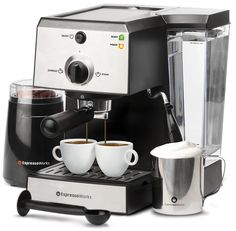 7 Pc All-In-One Espresso Machine & Cappuccino Maker Barista Bundle Set w/Built-In Steamer & Frother (Inc: Coffee Bean Grinder, Portafilter, Milk Frothing Cup, Spoon/Tamper & 2 Cups), Stainless Steel - Kitchen Appliances Latte Maker, Cappuccino Maker, Cappuccino Machine, Coffee Maker, Barista Machine, Espresso Machine Reviews, Best Espresso Machine, Italian Espresso, Italian Coffee