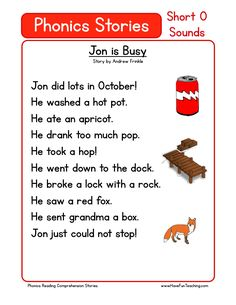 This Reading Comprehension Worksheet - Jon is Busy is for teaching reading comprehension. Use this reading comprehension story to teach reading comprehension.