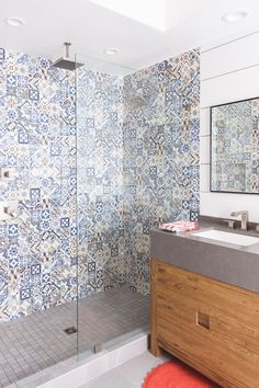 Spanish Inspired Master Bathroom Remodel in San Diego, CA by top-rated interior design and remodel firm Savvy Interiors | #bathroomremodel #bathrooms #bathroomideas #masterbath #patterntile #graphictile #graphictilebathroom #graphictiles #interiordesign #bathroomdesign #remodel #sandiegointeriordesign #sandiegoremodel #sandiegodesigner