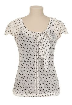 Bird Print Tie Neck Top - maurices.com $26