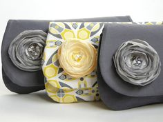 Clutch Bridesmaids gifts set of 3 gray and yellow by PaperFlora, $75.00