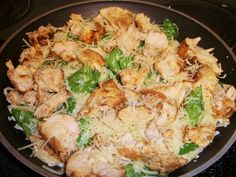 Lemon angel hair pasta with chicken and spinach.