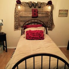 Barn Wood Backboard With Mason Jar Lights Wrought Iron Bed With A