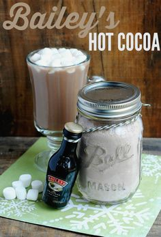 Surprise a friend with a cocktail in a jar! This holiday gift uses Bailey's and a homemade hot cocoa mix to give something unique and tasty! Try this recipe!