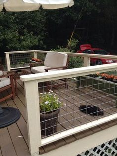 Deck Railing Ideas With Hog Wire . Wire Deck Railing Ideas deck railing ideas with hog wire Wire Deck Railing, Hog Wire Fence, Fence Gate, Metal Deck, Porch Railings, Railings For Decks, Cattle Panel Fence, Horizontal Deck Railing, Decking Fence