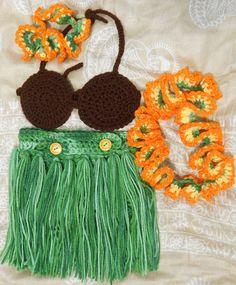 Hula girl 4 piece set grass skirt coconut top lei & by JesssStuff, $45.00