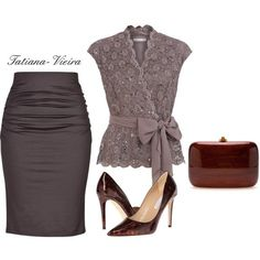 A fashion look from March 2014 featuring Jacques Vert blouses, Paule Ka skirts и Diane Von Furstenberg pumps. Browse and shop related looks. Classy Outfits, Chic Outfits, Fashion Outfits, Womens Fashion, Fashion Trends, Trendy Outfits, Mode Chic, Mode Style, Work Fashion