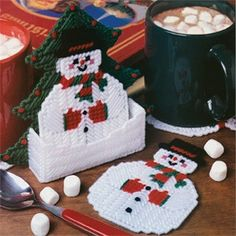 Santa Claus Coasters & Coaster Holder for you to make - Plastic Canvas Pattern Leaflet. Plastic Canvas Coasters, Plastic Canvas Ornaments, Plastic Canvas Crafts, Plastic Canvas Patterns, Plastic Craft, Plastic Mesh, Christmas Ornament, Christmas Items, Christmas Projects