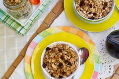 Lightened Up Summer Granola.  2c rolled oats. 1/2c almonds. 1/2c uncooked millet. 2tbsp ground flax. 1/4 cup Sucanat or brown sugar. 1/2-3/4 tsp kosher salt. 1/2tsp cinnamon. Heaping 2tbsp applesauce. 1/4c brown rice syrup, 3tbsp maple cinnamon almond butter with hemp, flax, chia or other nut butter. 1tsp puere vanilla extract. 2vanilla beans scraped, 1/2 tsp almond extract.