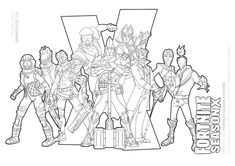 Fortnite season 10 characters (landscape version) with more characters from season X coloring page Coloring Pages For Boys, Coloring Sheets, Epic Games Fortnite, Kids Pages, Poster Colour, Marvel, Line Art, Stencils, Seasons