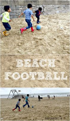 Beach football fun family summer activity