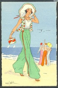 Chanel trousers were The thing for the beach that season. Art Deco Illustration, Fashion Illustration Vintage, Illustration Sketches, Moda Vintage, Vintage Vogue, Vintage Art, Art Nouveau, Art Deco Posters, Vintage Posters
