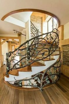 Staircase Railings, Staircase Design, Stairways, Staircase Ideas, Iron Staircase, Spiral Staircases, Banisters, Escalier Art, Escalier Design