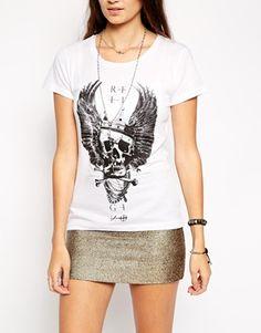Agrandir Religion - King - T-shirt à imprimé tête de mort et marguerites