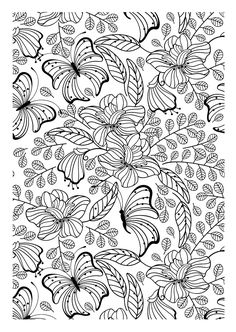 Free coloring page coloring-adult-butterflys. Another image to print and to color filled with pretty leaves, flowers and butterflies, which is certainly an interesting adult coloring page to achieve