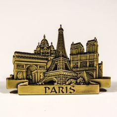 Metal Fridge Magnet: France. Paris Main Attractions (Brass Color)