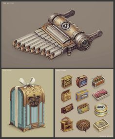 Various Bioshock Infinite, Chris Chaproniere on ArtStation at https://www.artstation.com/artwork/songbird-whistler-gear-and-ammo-pickups