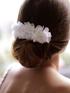 Peony Hair Piece  Wedding Flower Comb  Bridal Chiffon by Florentes, $42.00