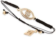 Sequin Drawstring Cord Bracelet with Crystal Evil Eye, Black