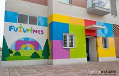 Nursery the White Kite Kindergarten Interior, Kindergarten Design, Kindergarten Classroom, School Wall Decoration, School Decorations, School Building Design, School Design, Baby Store Display, Kids Church Decor