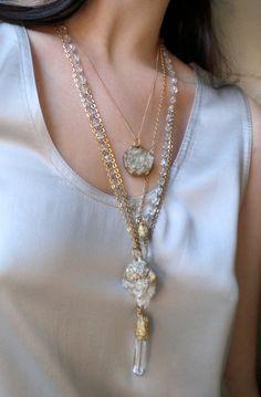 Fluorite Crystal Single Drop Necklace Wearable Art by Pauletta Brooks