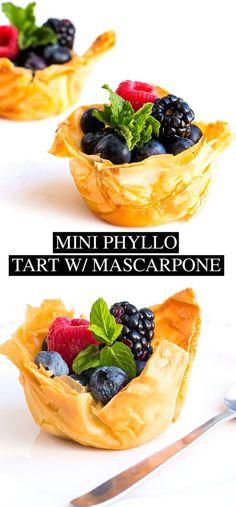 Mini Fruit Tart with Mascarpone Cream - Posh Journal Mini Fruit Tart with Mascarpone Cream: Easy to follow recipe crispy phyllo shells with lemony mascarpone filling and fresh mixed berries. #SweetSwap #SplendaSweeties #ad