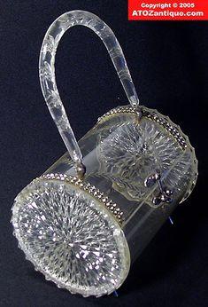 Clear Cylinder Shape Lucite bakelite Purse Rhinestone