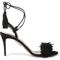 Aquazzura Wild Thing fringed suede sandals (36.130 RUB) ❤ liked on Polyvore featuring shoes, sandals, heels, aquazzura, black, strappy sandals, suede fringe sandals, heeled sandals, high heel shoes and strap sandals