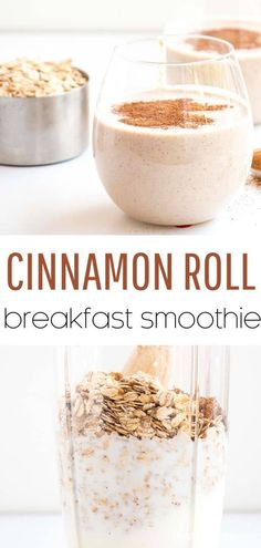 Incredibly healthy and delicious, this quick cinnamon roll breakfast smoothie is the perfect breakfast to start off the day! Incredibly healthy and delicious, this quick cinnamon roll breakfast smoothie is the perfect breakfast to start off the day! Healthy Breakfast Smoothies, Easy Smoothie Recipes, Easy Smoothies, Healthy Drinks, Making Smoothies, Healthy Breakfasts, Lunch Smoothie, Easy Healthy Breakfast, Clean Eating Smoothie