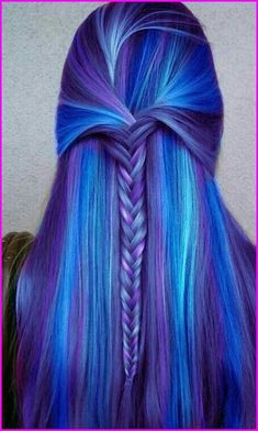 Blue Purple Hair Color Ideas, Mixing some colors always work when it comes to make your appearance both charming and unique. It is same for blue and purple too. This hair color sty. Cute Hair Colors, Pretty Hair Color, Beautiful Hair Color, Hair Dye Colors, Awesome Hair Color, Fun Hair Color, Beautiful Mermaid, Different Hair Colors, Blue Purple Hair