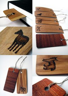 Lithuanian designer Juozas Urbonavicius produced these beautiful and strikingly original examples of bookmark design using thin wood pieces and applying animal figures using a pyrogrphic technique.