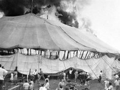 On July in Hartford, CT, a flame ignited the Ringling Brothers, Barnum and Bailey Circus big top tent during the afternoon show. The fire started along the side . Old Pictures, Old Photos, Ringling Brothers, Vintage Circus, Vintage Art, Vintage Photos, Big Top, Thats The Way, Interesting History