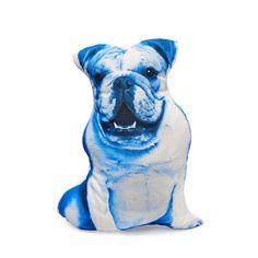 English bulldog cushion London UK United Kingdom blue