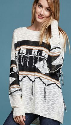 Cowgirl Southwest Gypsy Fringe AZTEC Light weight OVERSIZED knit sweater LARGE #STYLERACK #PULLOVER