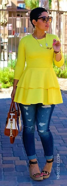 Love the yellow peplum tunic with the distressed denim jeans
