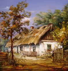 CarolArt ✽ Paintings and Video : Maksai János ~ Hungarian painter Debrecen Watercolor Architecture, Watercolor Landscape, Landscape Art, Landscape Paintings, Beautiful Paintings, Beautiful Landscapes, Cottage Art, Galerie D'art, Country Paintings