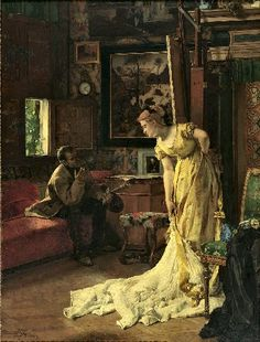 A Painter or The Studio Alfred Stevens (Belgian, Oil on canvas. Royal Museums of Fine Arts of Belgium. In his cartoon La Cocotte jaune in which he alludes to Stevens' painting, Louis-Joseph Ghémar suggested that the. Alfred Stevens, William Turner, Mary Cassatt, Demi Mondaine, 24. August, Artists And Models, European Paintings, Victorian Art, Victorian Paintings